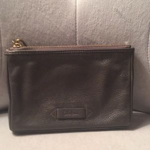 Cole Haan gray leather wristlet